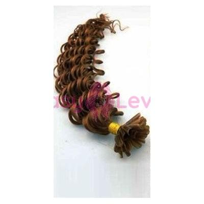 Keratinové vlasy, 100% lidské, 60cm 0.7g, kudrnaté - SVĚTLEJŠÍ HNĚDÁ