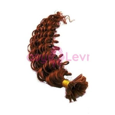 Keratinové vlasy, 100% lidské, 60cm 0.7g, kudrnaté - MĚDĚNÁ