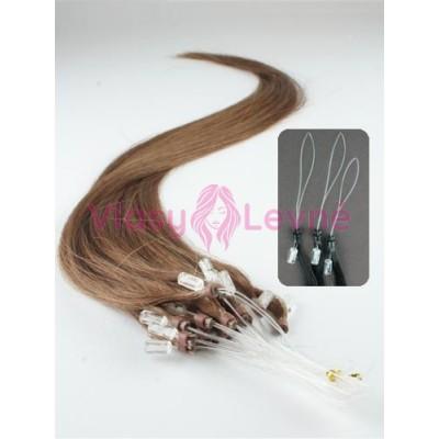 Micro ring vlasy, 100% lidské, 40cm 0.5g, rovné - SVĚTLEJŠÍ HNĚDÁ