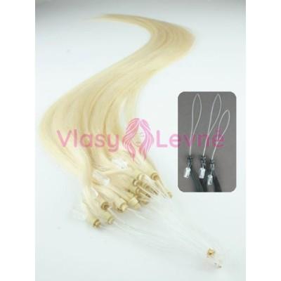 Micro ring vlasy, 100% lidské, 40cm 0.5g, rovné - PLATINA