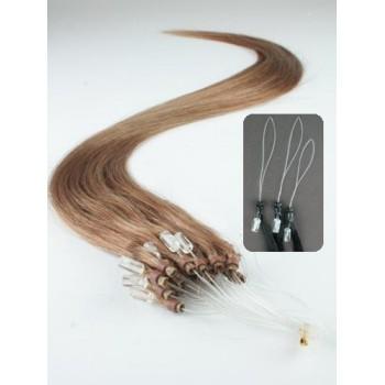 Micro ring vlasy,100% lidské, 40cm 0.7g, rovné - SVĚTLE HNĚDÁ