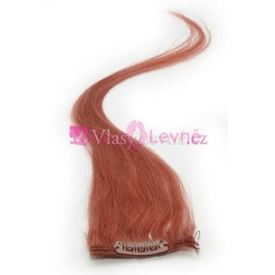350 - Rudo hnědé, lidské vlasy k prodloužení - Clip in, 50 cm