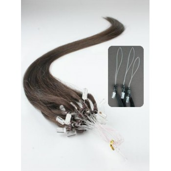 Micro ring vlasy, 100% lidské, 50cm 0.7g, rovné - TMAVĚ HNĚDÁ
