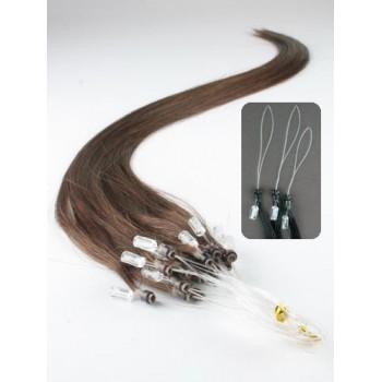 Micro ring vlasy, 100% lidské, 60cm 0.5g, rovné - STŘEDNĚ HNĚDÁ