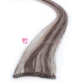 012/613 - Melírované(světle hnědé/nejsvětlejší blond), lidské vlasy k prodloužení - Clip-in, 50 cm