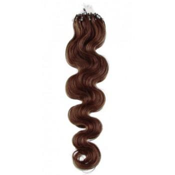 Micro ring vlasy, 100% lidské, 50cm 0.7g, vlnité - STŘEDNĚ HNĚDÁ