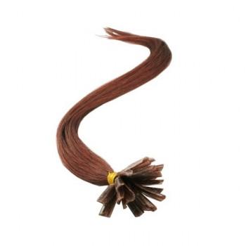 033 - Tmavě rudo-hnědé vlasy k prodloužení - Keratin , 50cm, 20 pramenů