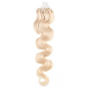 Micro ring vlasy, 100% lidské, 50cm 0.7g, vlnité - PLATINA