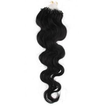 Micro ring vlasy, 100% lidské, 60cm 0.5g, vlnité - ČERNÁ