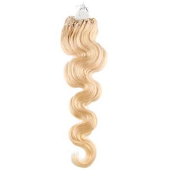 Micro ring vlasy, 100% lidské, 60cm 0.5g, vlnité - NEJSVĚTLEJŠÍ BLOND