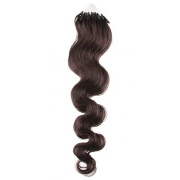 Micro ring vlasy, 100% lidské, 60cm 0.7g, vlnité - TMAVĚ HNĚDÁ