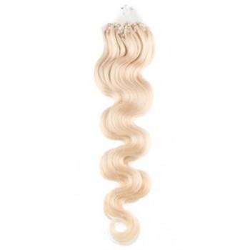 Micro ring vlasy, 100% lidské, 60cm 0.7g, vlnité - PLATINA