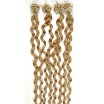 Micro ring vlasy, 100% lidské, 50cm 0.7g, kudrnaté - PŘÍRODNÍ BLOND