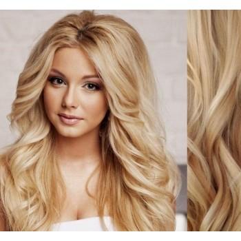 Clip in lidské vlasy 53cm, vlnité  - PŘÍRODNÍ/SVĚTLEJŠÍ BLOND