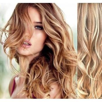 Clip in lidské vlasy 53cm, vlnité  - SVĚTLÝ MELÍR