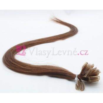 006 - Hnědé vlasy k prodloužení - Keratin , 50cm, 20 pramenů
