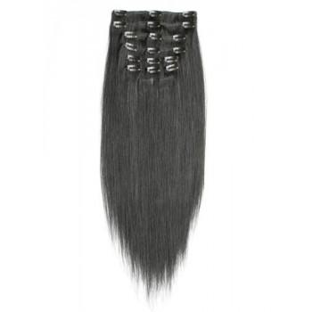 001B - Přírodně černé, lidské vlasy k prodloužení - Clip-in, set 10 ks, 50 cm, REMY