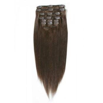 004 - Středně hnědé, lidské vlasy k prodloužení - Clip-in, set 10 ks, 50 cm, REMY