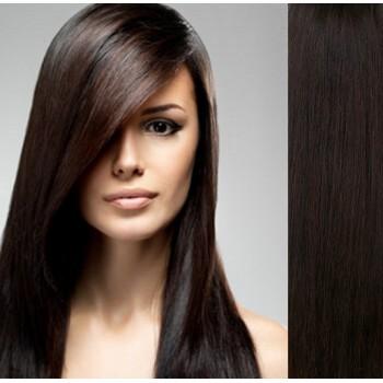 Clip in lidské vlasy 43cm 100g  - TMAVĚ HNĚDÉ