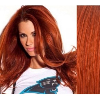 Clip in lidské vlasy 53cm  - MĚDĚNÉ