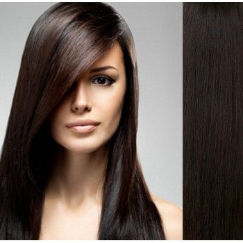 Clip in lidské vlasy 63cm  - TMAVĚ HNĚDÉ