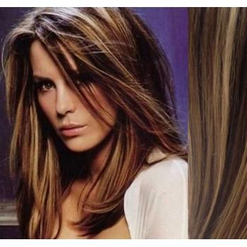 Tape in vlasy 43cm lidské - TMAVÝ MELÍR