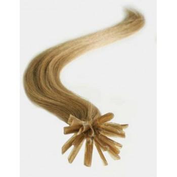 Keratinové vlasy, 100% lidské, 40cm 0.5g, rovné - SVĚTLE HNĚDÁ