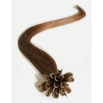 Keratinové vlasy, 100% lidské, 40cm 0.7g, rovné - SVĚTLEJŠÍ HNĚDÁ