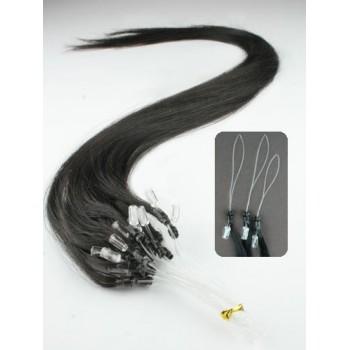 Přírodní černé, lidské vlasy k prodloužení, Micro ring, 45 cm