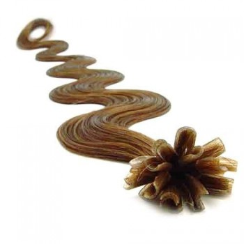 Keratinové vlasy, 100% lidské, 60cm 0.7g, vlnité - SVĚTLE HNĚDÁ