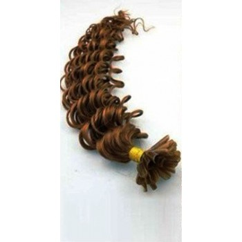 Keratinové vlasy, 100% lidské, 60cm 0.5g, kudrnaté - SVĚTLEJŠÍ HNĚDÁ