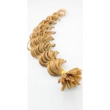 Keratinové vlasy, 100% lidské, 60cm 0.7g, kudrnaté - PŘÍRODNÍ BLOND