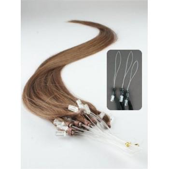 Micro ring vlasy, 100% lidské, 50cm 0.5g, rovné - SVĚTLEJŠÍ HNĚDÁ