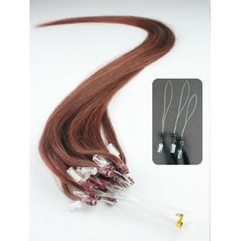 Micro ring vlasy, 100% lidské, 50cm 0.5g, rovné - MĚDĚNÁ