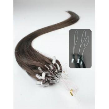 Micro ring vlasy, 100% lidské, 60cm 0.7g, rovné - TMAVĚ HNĚDÁ