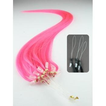 Micro ring vlasy, 100% lidské, 60cm 0.7g, rovné - RŮŽOVÁ