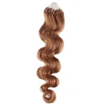 Micro ring vlasy, 100% lidské, 50cm 0.5g, vlnité - SVĚTLE HNĚDÁ