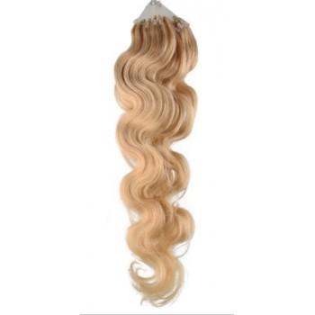 Micro ring vlasy, 100% lidské, 50cm 0.5g, vlnité - PŘÍRODNÍ BLOND