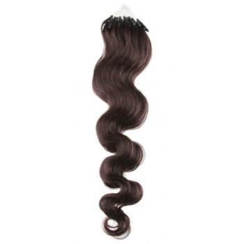 Micro ring vlasy, 100% lidské, 50cm 0.7g, vlnité - TMAVĚ HNĚDÁ