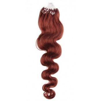 Micro ring vlasy, 100% lidské, 50cm 0.7g, vlnité - MĚDĚNÁ