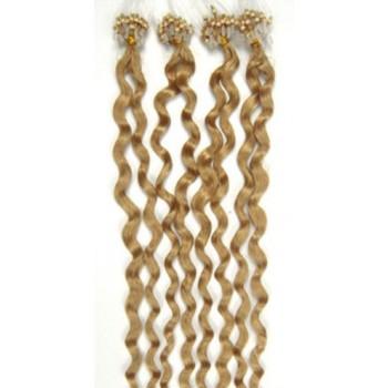 Micro ring vlasy, 100% lidské, 50cm 0.5g, kudrnaté - PŘÍRODNÍ BLOND